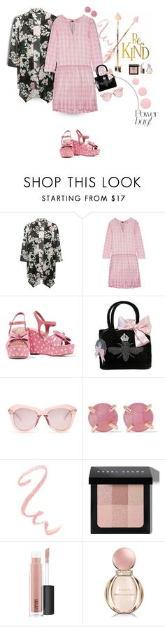"""The Pink Gingham Dress and The Black Floral Kimono"" by onesweetthing ❤ liked on Polyvore featuring M&Co, Rochas, RED Valentino, My Flat In London, Karen Walker, Melissa Joy Manning, Bobbi Brown Cosmetics, MAC Cosmetics, Bulgari and Deborah Lippmann"