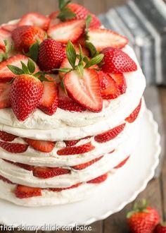 Fresh Strawberry Meringue Cake   A luscious dessert with layers of baked meringue, fresh strawberries and mascarpone whipped cream! @lizzydo