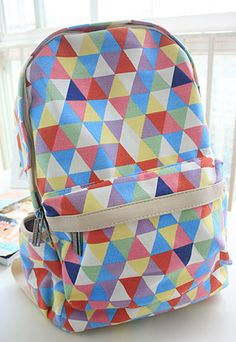 f50faa3baaa1 Brilliant Pop Style Colorful Triangle Canvas Backpack