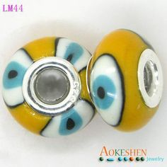 10x15mm Dark Yellow 925 Sterling Silver Core Porcelain European Charms Beads