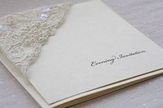 Cream and pearl lace evening invitation cards, so romantic and perfect for an ivory wedding theme!