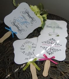 wedding monogram - wedding favor - wedding fan