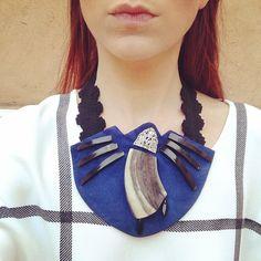 #bat #unique #piece #suede #horn #vintage #ribbon #jewelry #necklace #ethnic #oneofakind #parmemarinjewelry #blue #shape  #loveblackandblue