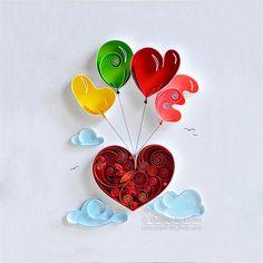 Pared arte papel quilling papel amor corazón de quilling