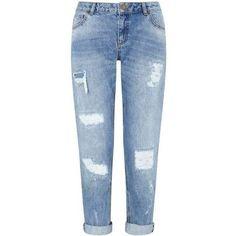 KITTY Vintage Boyfriend Jean (£49) ❤ liked on Polyvore featuring jeans, vintage jeans, miss selfridge, blue jeans, boyfriend jeans and boyfriend fit jeans