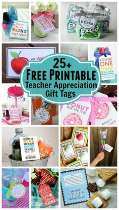 25+ Free Printable Teacher Apprecation Gift Tags Need a last minute teacher appreciation gift? Simple print out one of these free printable gift tags, attach it to a gift and you are good to go!