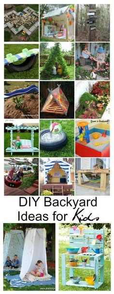 DIY Backyard Ideas for Kids - - Summer is just around the corner and my kids live outside. With these DIY Backyard Ideas for Kids your backyard will be full of fun and adventure. Backyard Playground, Backyard For Kids, Backyard Games, Diy For Kids, Crafts For Kids, Diy Outside Toys For Toddlers, Backyard Zipline, Kids Yard, Dog Playground