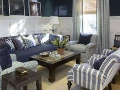 Classic blue and white living room