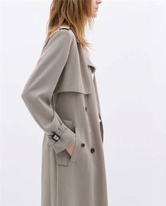 ZARA Woman BNWT Long Flowing Trench Coat Medium Taupe Grey Ref: 0518/046 S/OUT