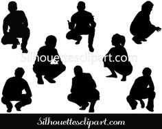 People Squatting Silhouette Download Free