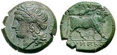 Campania, Teanum Sidicinum Æ Obol. ca 265-240 BC. Laureate head of Apollo left, O (obol) behind / man-headed bull standing right, crowned by Nike flying above; pentagram below. SNG ANS 617-618; BMC 11. * Sear GCV sg0567 * WildWinds.com