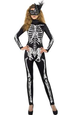 Adult Fever Soleil Skeleton Cat Suit New Fancy Dress Costume Sexy Halloween Sexy Skeleton Costume, Mode Halloween, Halloween Costumes For Sale, Sexy Adult Costumes, Costume Sexy, Costume Noir, Joker Costume, Black Costume, Halloween Fashion
