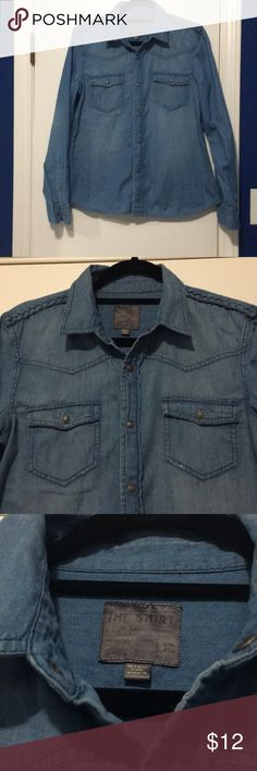 Joe's Jeans denim shirt Size large, small distressing, bread detail on shoulders, snap buttons, pre loved but has a lot of life left. No holes or stains. Very comfortable! Great go to piece Joe's Jeans Tops Button Down Shirts