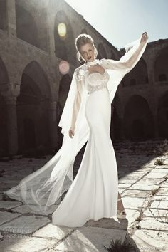 zoog bridal 2013 strapless wedding dress lace bodice sheer cape