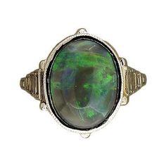 Art Deco 6.50ct Natural Black Cabochon Opal Emerald Cut Diamond Platinum Ring