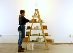 Take holiday decorating one step at a time—literally—with this nontraditional and easy-to-stow Christmas tree ladder.