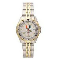 Buy Logo Art LA UMF104 University of Miami Florida Hurricanes All Star Womens Steel Band Watch Cheap - This luxurious wristwatch features a brushed chrome finish brass case with gold tOne accents on a rotating bezel two tOne stainless steel...