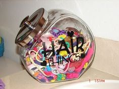Cookie jar for hair things: A girl and a glue gun: VINYL and CRICUT and CAMEO
