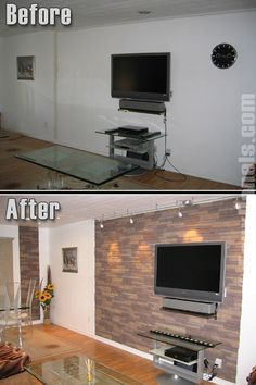 Lovely Living Room Done With Our Faux Panels. #faux #stone #panels