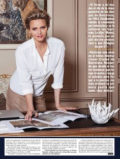 The Royal Couturier: Princess Charlene in Akris shown in her office in the Princely Palace in Monaco for Hola! Magazine