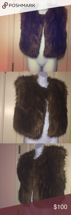 Vintage Brown Faux Fur Vest Purchased this is at Buffalo Exchange in New York thrift store only been worn 4 times Jackets & Coats Vests