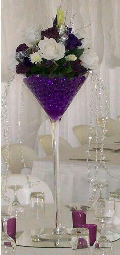 tall martini glass vases for centerpieces Floral arrangement . Succulent Centerpieces, Party Centerpieces, Wedding Decorations, Centerpiece Wedding, Martini Glass Centerpiece, Wine Glass Centerpieces, Deco Floral, Table Centers, Centre Pieces