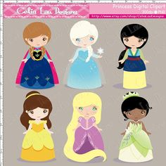 Princess Clipart includes 6 cute graphics.    Graphics are PERFECT for the Scrapbooking, Cards Design, Stickers, Paper Crafts, Web Design,