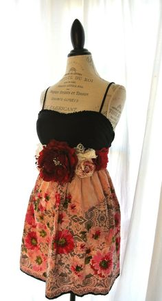 Romantic rustic fall dress shabby slip dress by TrueRebelClothing, $68.00