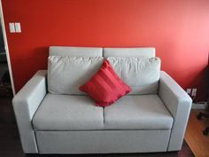 Sofa Design For Small Space With Red Cushion And Wall Ideas, small sectional sofas for sale, small sectional sofas for small spaces ~ Home Design Small Sleeper Sofa, Small Sectional Sofa, Sofa Beds, Couches For Small Spaces, Small Sofa, Small Leather Sofa, Home Furniture, Furniture Design, Apartment Sofa