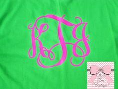 Short Sleeve Monogram T-Shirt Custom Initials Tee Shirt Monogrammed Tee Vinyl Over Sized Monogram T-Shirt Bride or Bridesmaid Monogram Gifts on Etsy, $17.00