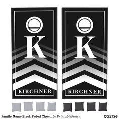 Family Name Black Faded Chevron Monogram Modern Cornhole Set Custom Cornhole Boards, Cornhole Set, Cornhole Tournament, Cross Beam, Chevron Monogram, Fade To Black, Epic Games, School Colors, Board Games
