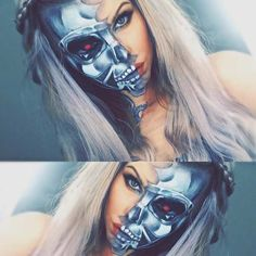 Half-Face Terminator Makeup Look for Halloween