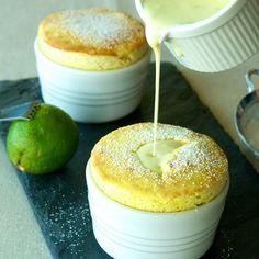 Soufflés with Coconut-Lime Crème Anglaise Drool. (Mango souffles with coconut-lime creme anglaise from Oui Chef on Food (Mango souffles with coconut-lime creme anglaise from Oui Chef on Food Just Desserts, Delicious Desserts, Dessert Recipes, Yummy Food, Healthy Desserts, Mango Souffle, Creme Anglaise Recipe, Dessert Mousse, Souffle Recipes