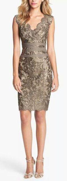 Stylish party dress with matching high heels- Tadashi Shoji Embellished Metallic Lace Sheath Dress- at Nordstrom Short Dresses, Formal Dresses, Bride Dresses, Glamour Dresses, Lace Sheath Dress, Beautiful Outfits, Gorgeous Dress, Pretty Dresses, Dress To Impress
