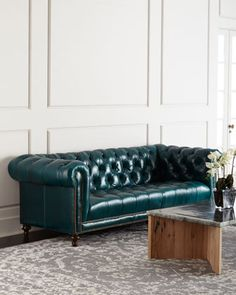 Davidson 94 Tufted Seat Chesterfield Sofa by Massoud at Horchow. Best Leather Sofa, Classic Wing Chair, Chesterfield Sofa, Sofa, Furniture, Leather Sofa, Sofa Deals, Home Decor, Living Room Furniture