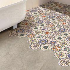 20 cm x 23 cm PVC Mosaikfliese Selbstklebend Floral World Menagerie Linoleum Flooring, Kitchen Flooring, Bathroom Flooring, Stick On Tiles Bathroom, Retro Vinyl Flooring, Parquet Tiles, Stick Tiles, Basement Bathroom, Floors
