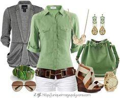 Camisa Verde - Calça Branca cinto marrom