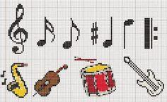 Artes e bordados da Sol: Gráficos de Instrumentos Musicais