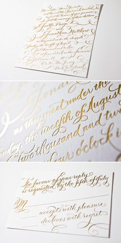 New Calligraphy foil stamped invitation in gold matte foil. Love the font. Also think its funny how the bride on this invite has the same middle name and nearly same first name as me!