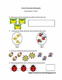 Fisa de evaluare Numbers Preschool, Preschool Worksheets, Preschool Activities, Kindergarten, Homeschooling, Crafts For Kids, Math, 1 Decembrie, Montessori