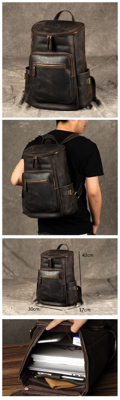 636bc94217fa9 Leather backpack, Travel backpack Handbag, Carry all Bag,  Rucksack Backpacks, City Backpack GZ030. Mochila CouroBolsas  MasculinasBolsas ...