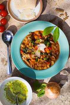 Dinner Recipe Inspiration: Hemsley + Hemsley Summer Minestrone With Buckwheat Pasta & Basil Oil recipe Veggie Recipes Healthy, Vegetarian Recipes, Easy Cooking, Cooking Recipes, Hemsley And Hemsley, Seasonal Food, Slow Food, Soup Recipes, Recipies