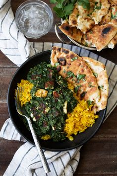 saag paneer over turmeric rice recipe from cooking with cocktail rings #vegetarian #Indian #recipe