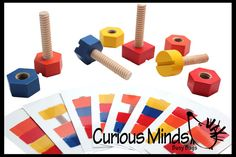 Wood Nuts and Bolts Toy with Pattern Cards - Montessori Wood Toy, Learning Toy, Toddler Toy, Learning Game, Educational