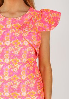 Daisy May Ruffle Sleeve Floral Dress, Neon Pink | McElhinneys