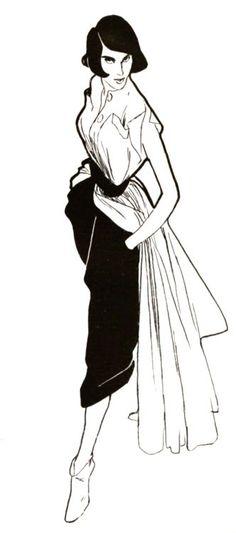 Ensemble Christian Dior, illustration Rene Gruau, 1948 / for more inspiration visit http://pinterest.com/franpestel/boards/