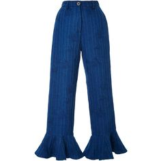 Christina Economou High Rise Ruffle Jeans (€230) ❤ liked on Polyvore featuring jeans, bottoms, pants, dark wash, dark wash high waisted jeans, floral printed jeans, blue jeans, high-waisted jeans and high rise jeans