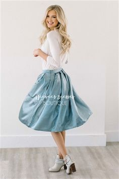 Shimmery Slate Blue Pleated Full Skirt