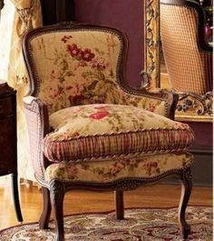 French country chair, used in Victorian English home interior design. Love the upholstery! French Country Decorating, Bergere Chair, French Country Bedrooms, Country Decor, Chair, Furniture, French Furniture, French Country Chairs, French Bergere Chairs