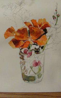 flowers #painting #watercolor #pencildrawing #orangecolor